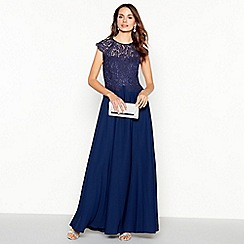 Debut - Dark blue 'olivia' floral lace maxi dress