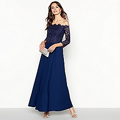 Debut - Dark Blue 'Olivia' Floral Lace Bardot Maxi Dress
