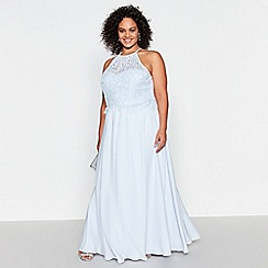 Debut - Pale Blue Lace Halterneck Olivia Plus Size Maxi Dress