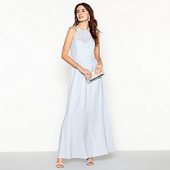 Debut - Pale Blue 'Olivia' Floral Lace Halterneck Maxi Dress