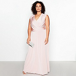 Debut - Rose Pink Lace Back 'Liza' Plus Size Maxi Dress