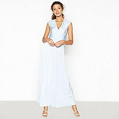 Debut - Blue Lace Back 'Liza' Satin Maxi Dress