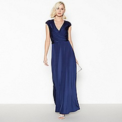 Debut - Dark Blue Lace Back 'Liza' Jersey Maxi Dress