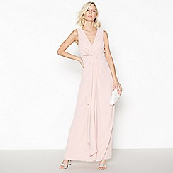 Debut - Rose Pink Chiffon 'Petra' Twist Front Maxi Dress