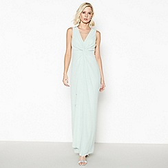 Debut - Pale Green Chiffon 'Petra' Twist Front Maxi Dress