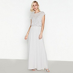 Debut - Silver Beaded Chiffon Maxi Dress