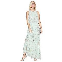 Debut - Pale Green Floral Print 'Darcy' Chiffon Maxi Dress