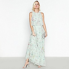 Debut - Pale Green Floral Print 'Darcy' Chiffon Maxi Dress