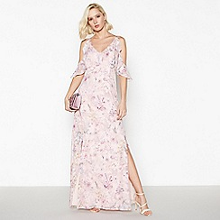 Debut - Rose Pink Floral Burnout Maxi Dress