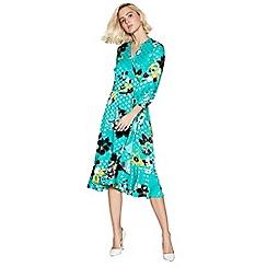 Debut - Green Floral Print Wrap Midi Dress