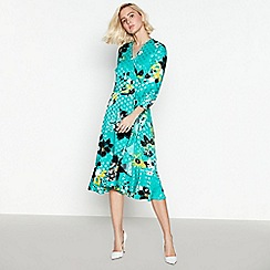 Debut - Green Floral Print Wrap Midi Dress