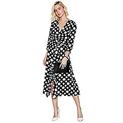 Debut - Black Spot Print Ruffle Midi Shift Dress