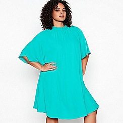 Debut - Green Bow Back Plus Size Swing Dress