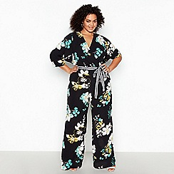 Debut - Black Floral Print Plus Size Jumpsuit
