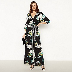 Debut - Black Floral Print Jumpsuit