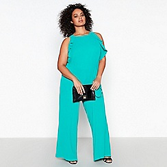 Debut - Green Frill Plus Size Jumpsuit