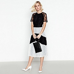 Debut - Black Spot and Lace Pleated Midi Dress