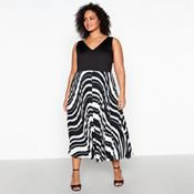 2a735d267a Debut - Black Stripe Pleat Plus Size Maxi Dress