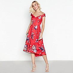 Debut - Red Floral Print Scuba High Low Dress