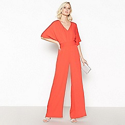 Debut - Red Belted Wide Leg Jumpsuit
