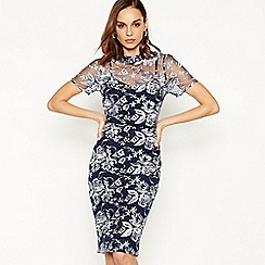 Debut - Navy floral embroidered knee length shift dress