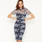 2be2a136efc Debut - Navy floral embroidered knee length shift dress