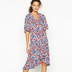 Debut - Multicoloured Floral Print Chiffon Tiered Wrap Dress