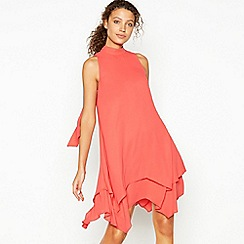 Debut - Red Layered Knee Length Swing Dress