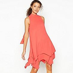 Debut - Red Layered Knee Length Swing Dress