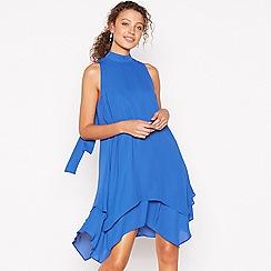 Debut - Royal Blue Layered Knee Length Swing Dress
