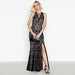 Debut - Black Floral Lace Fishtail Full Length Dress
