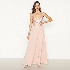 Debut - Rose pink sequin embellished chiffon full length dress