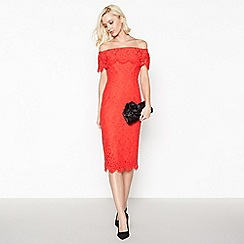 Debut - Red Lace 'Brianna' Bardot Midi Dress
