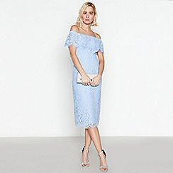 Debut - Blue Floral Lace 'Briana' Bardot Midi Dress