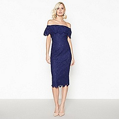 Debut - Dark Blue Lace 'Brianna' Bardot Midi Dress