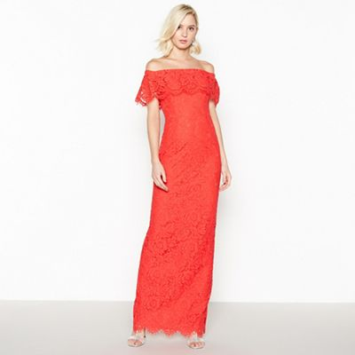 008020433203: Red Lace Brianna Bardot Maxi Dress