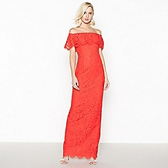 Debut - Red Lace 'Brianna' Bardot Maxi Dress