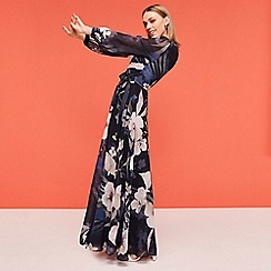 No. 1 Jenny Packham - Navy floral print wrap maxi dress
