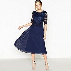 No. 1 Jenny Packham - Navy Floral Lace 'Louise' Pleated Midi Dress