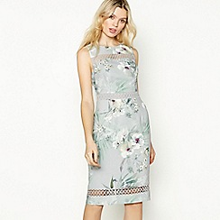 No. 1 Jenny Packham - Silver Floral Print 'Hibiscus' Knee Length Pencil Dress