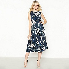 No. 1 Jenny Packham - Navy Hibiscus Knee Length Dress