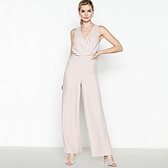 No. 1 Jenny Packham - Pale Pink Satin 'Georgina' Diamanté Belt Jumpsuit