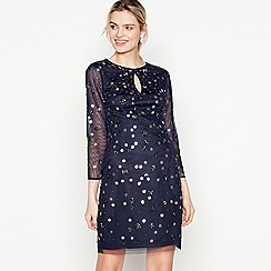 No. 1 Jenny Packham - Dark Blue Embellished 'Ellie' Knee Length Dress