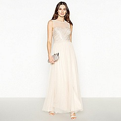 No. 1 Jenny Packham - Cream Embellished Mesh 'Erin' Maxi Dress