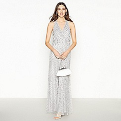 No. 1 Jenny Packham - Silver Embellished Halter neck 'Hattie' Maxi Dress