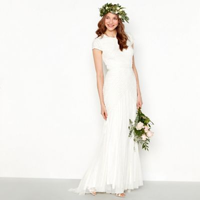 Nine by Savannah Miller Ivory embellished frill bridal dress | Debenhams