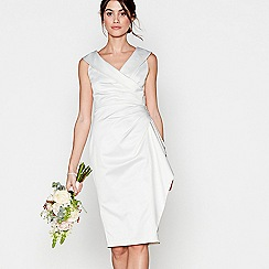Debut - Ivory satin 'Samantha' v-neck wedding dress