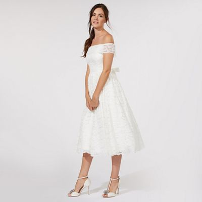 Womens Aravella Bardot Lace Midi Bridal Dress Dorothy Perkins