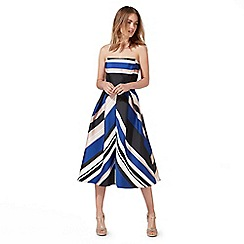 Debut - Multi-coloured stripe print bandeau midi prom dress