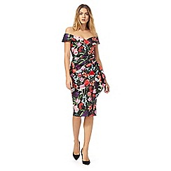 Debut - Multi-coloured floral print bardot neck evening dress